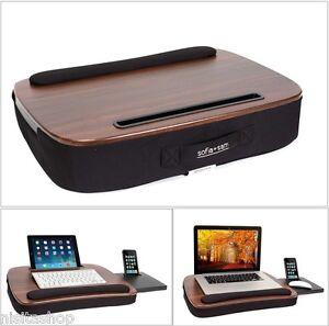 Wood Laptop Lap Desk Table Tablet Slot Workstation Office