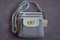 Emma Fox Leather Flap Crossbody Handbag In Pebble/white
