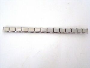 Stainless-Steel-9MM-Italian-Charms-Starter-Bracelet-SHINY-SILVER-14-Links