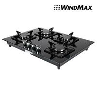 Euro Style 28 Black Glass 4 Burner Built-in Stove Ng Gas Cooktop