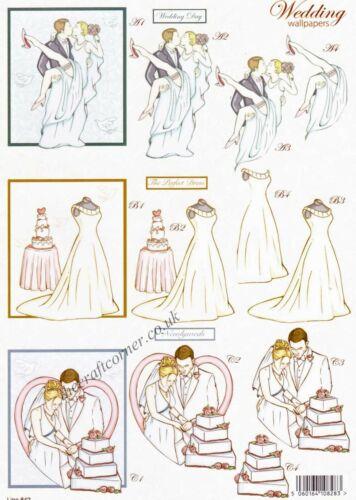 Wedding Dress Die Cut 3D Decoupage Sheet Card Making Paper Craft NO CUTTING REQ