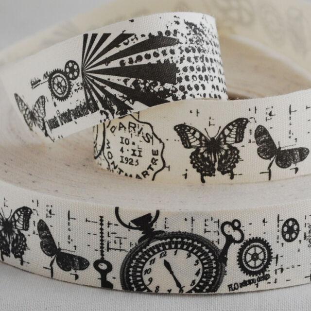Cotton Fabric Ribbon Trim Sewing Label - Vintage Steampunk Watch Butterfly Paris