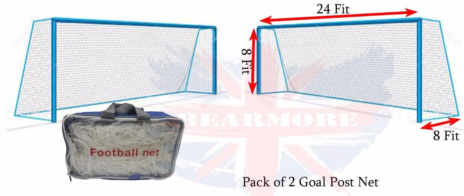 24FT x 8FT Football Outdoor Goal Post Net Water & Heat Resistant Net White 11PPL