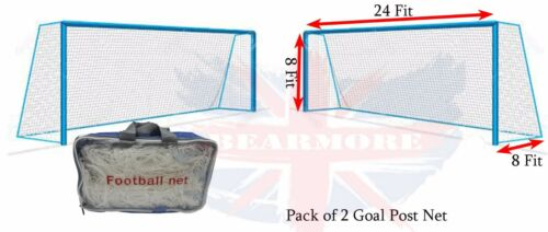 24FT x 8FT Football Outdoor Goal Post Net Water & Heat Resistant Net White 11PPL
