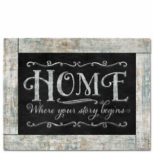 Framed-Wooden-Chalkboard-Sign-Wall-Plaque-HOME-WHERE-YOUR-STORY-BEGINS