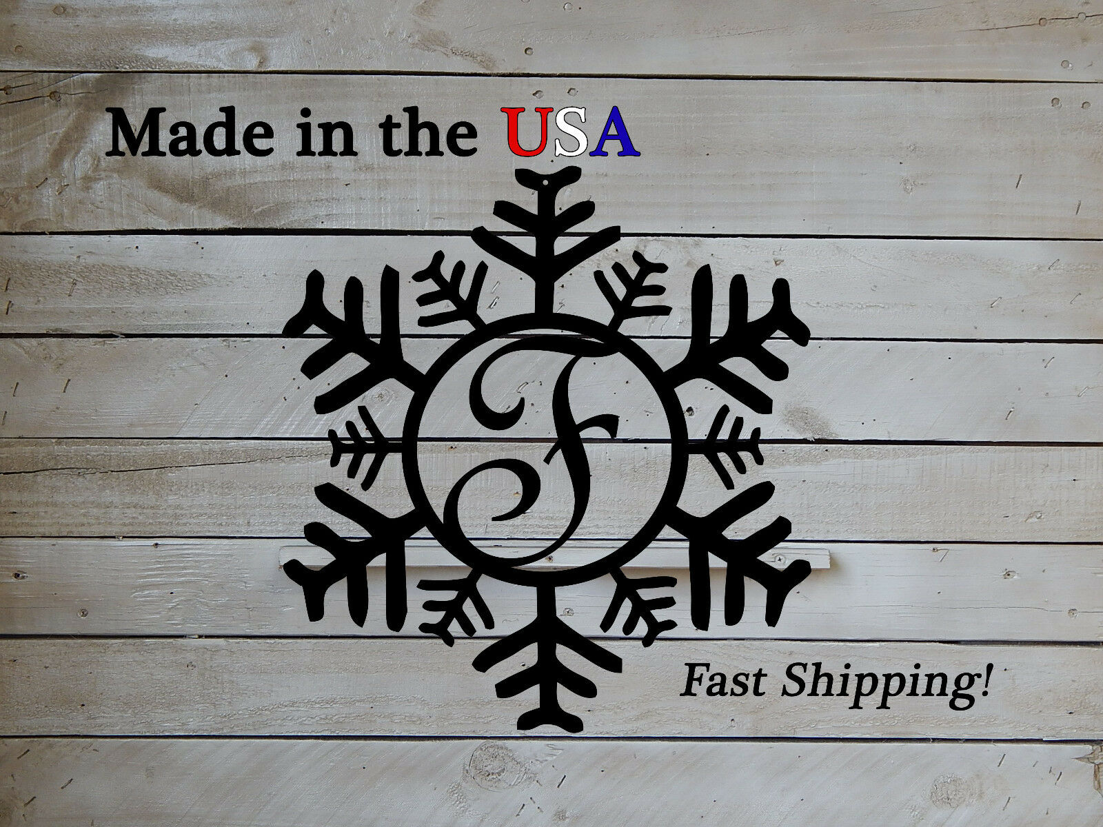 Snowflake Letter Monogram-Christmas-Decor-Winter Door HangersSeasonal Art-DS1046