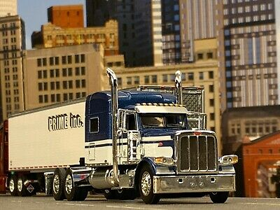 1 64 Dcp Blue White Peterbilt 389 70 Mid Roof Sleeper Ebay