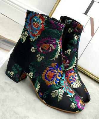 New Womens Suede Block Heels Embroidery Floral Ethnic Mid Calf Boots Zip Shoes