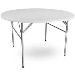 titan 4 39 round plastic folding table indoor outdoor banquet wedding off white. Black Bedroom Furniture Sets. Home Design Ideas