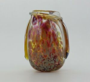 Art Glass Vase Iridescent Hand blown multi color signed Pat Benoit 08  5.75 inch