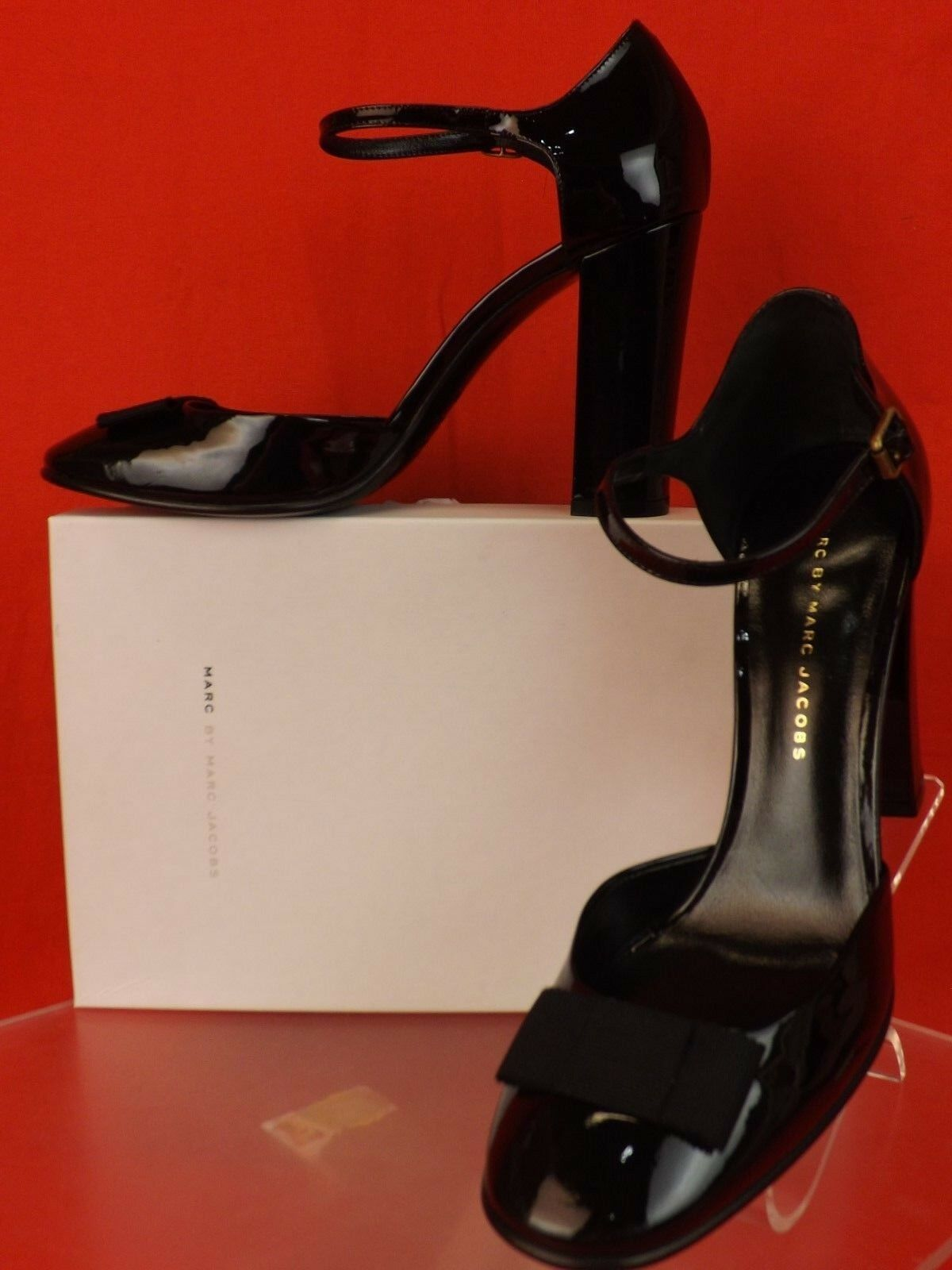 NIB MARC BY MARC JACOBS BLACK PATENT LEATHER BOW MARY JANE PUMPS 36.5 ITALY