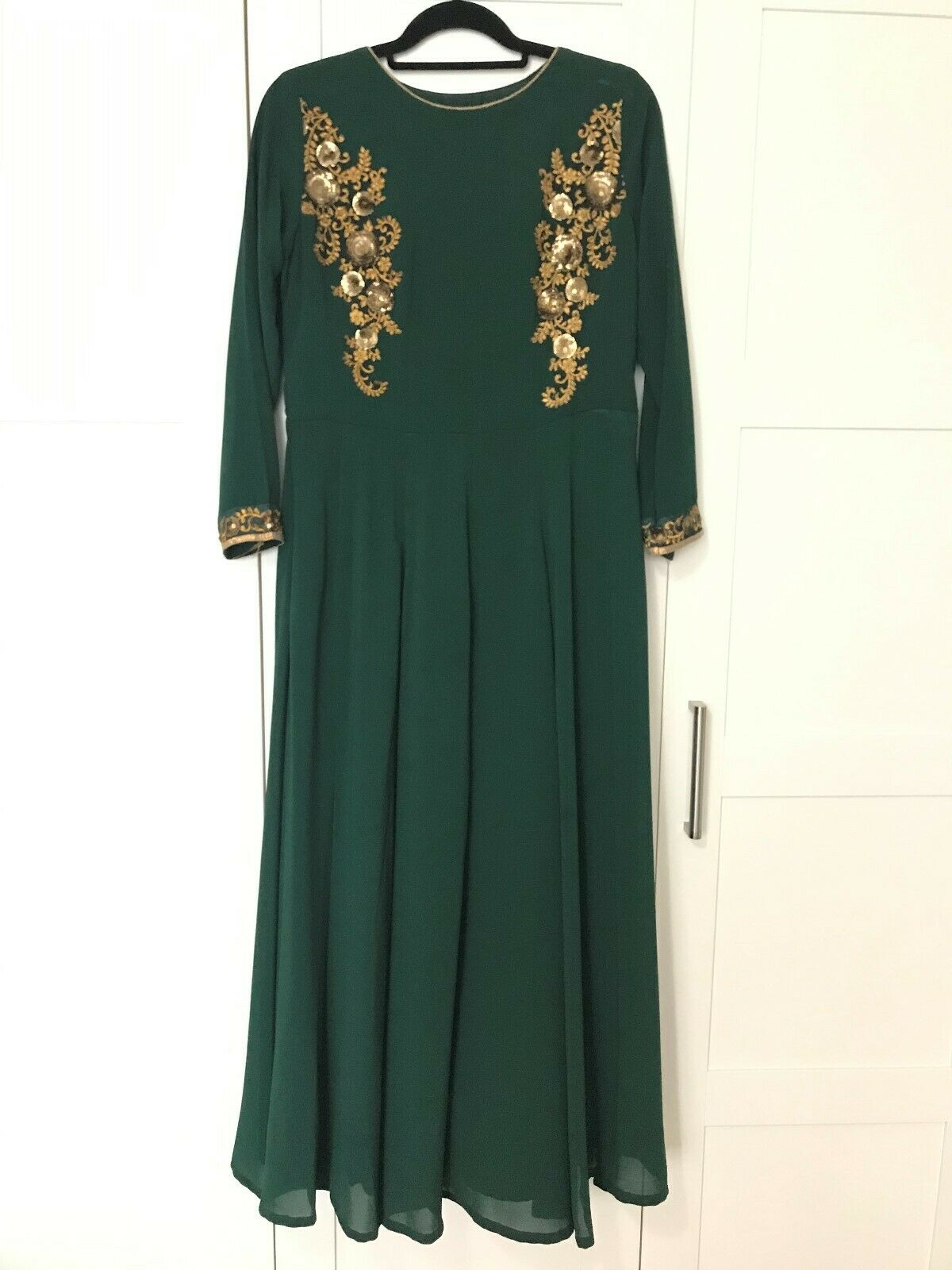 womens dark green indian maxi A-line dress gold sequin scarf included size 10/12