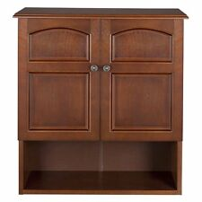 ELG501 Elegant Home Fashions Doors Wall Cabinet Bathroom Medicine Storage Toiletry Mount Mahogany Organizer 674278005014
