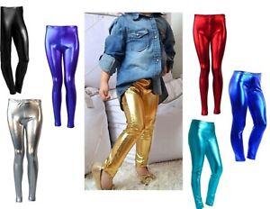 Neuf Filles Métallique Leggings Brillant /& Wet Look For Kids Enfants Costume Disco Party