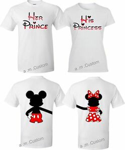 df6101e22d Mickey and Minnie Disney Prince and Princess couple matching cute T ...