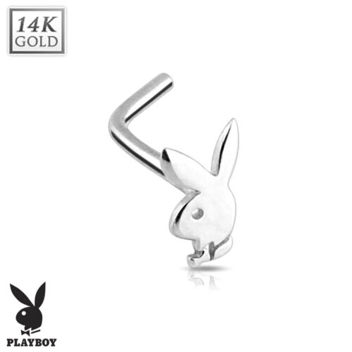 PLAYBOY BUNNY 14K White GOLD Nose RINGS L Bend Screw STUDS Body Piercing Jewelry