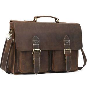 Vintage-Real-Leather-Tote-Mens-Briefcase-16-039-039-Laptop-Case-Messenger-Shoulder-Bag