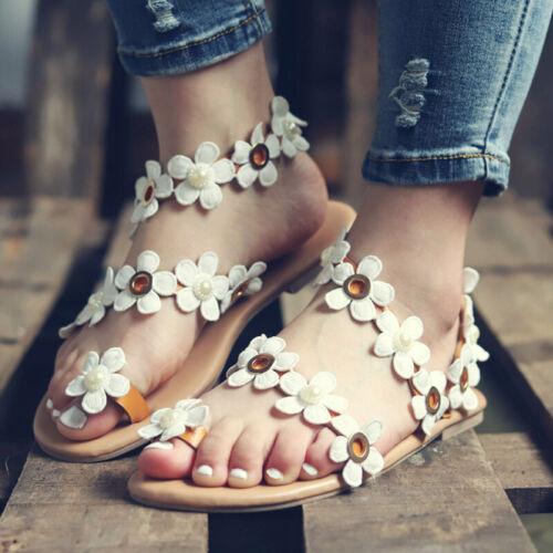 Damen Flache Sandalen Boho Blumen Sandaletten Zehentrenner Strand Sommerschuhe