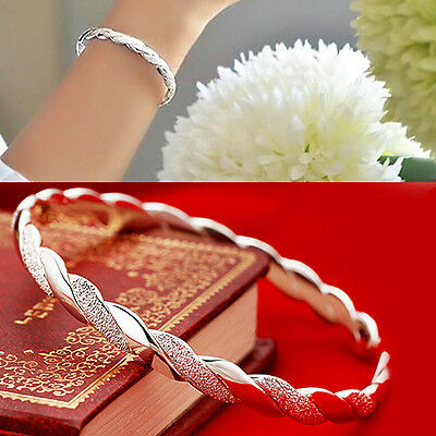 Womens New Fashion  Silver Plated Cuff Charm Wrist Bracelet Bangle