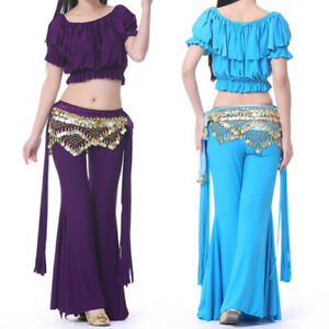 Details about Oriental Belly Dance Costume Top Pants Belt Suit Practice  Club Stage Outfit Wear