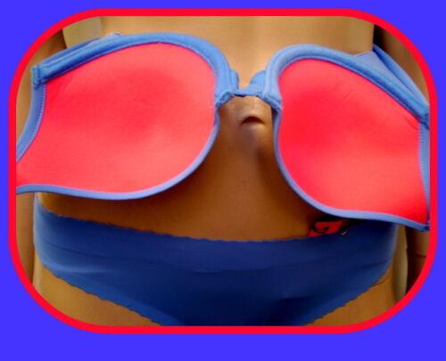 Corte láser Costura Libre chisporroteo caderas Sujetador conjunto azul//Cerise Desmontable Correas 32//4//6//8