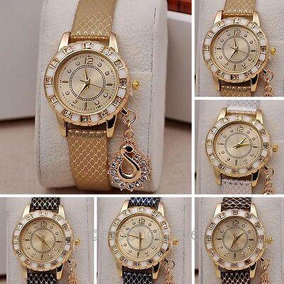 Women Fashion Crystal  Rhinestone Watches Swan Pendant Quartz Dress Wristwatch