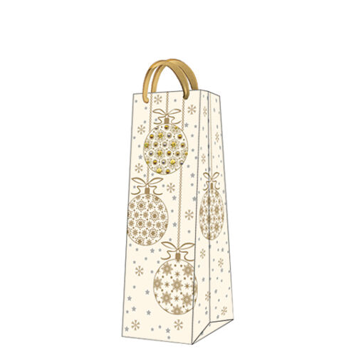 D Christmas Printed Paper Gift Present Bag SHINY GLASS BALLS Gold Exclusive