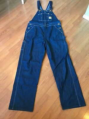 Carhartt Men S Overalls Bib Carpenter Workwear Medium Wash Denim Jeans 40 X 33 Ebay