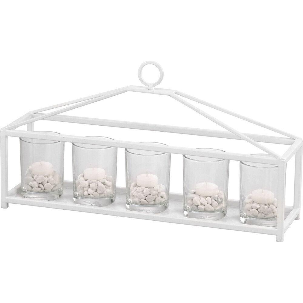 Iron Metal Lantern Hanging Wine Candle Glass Pots Storage Ceiling Holder Weiß