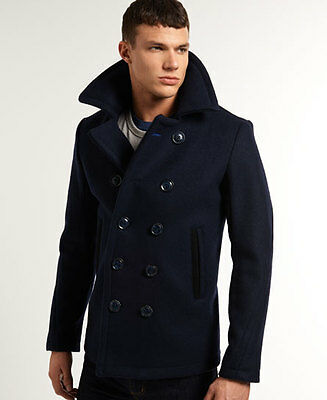 New Mens Superdry Bleecker Street Pea Coat Navy
