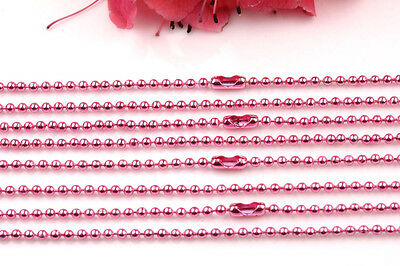 Wholesale 2Pcs Metal Chain Small Round Beads Connector Necklace 11 Colors U Pick