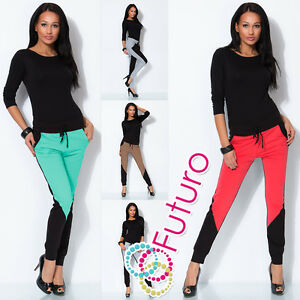 Ladies 2 Coloured Pants Chino Trousers Joggers With Pockets Gym Size 8-18 1068