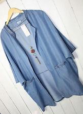 SD Italy Jeans Blazer - Jacke Überwurf 38 40 42 44  Blau Denim Lagenlook Neu