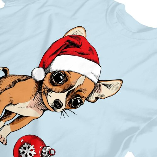 1Tee Enfants Garçons Chiot chihuahua porte Santa/'s Hat Mignon Noël T-Shirt