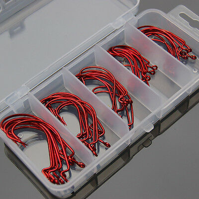 1 Box Red Carbon Steel Bait Hooks Tackle Tool Fishing Fish Portable Set