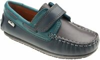 Venettini Kids 55-samy Navy Teal Grey Leather Moccasin Loafer
