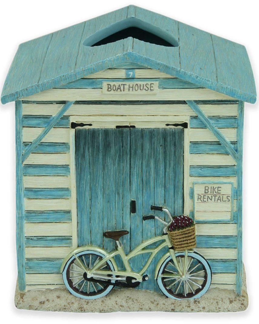 Boat House Bike Rentals Tissue Box Holder Cover Modern Square Kleenex Dispenser