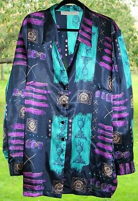 "FABULOUS Vintage80s Blouse 56""Bust PLUS SIZE 24 Silky Multi-Art-Print Tunic BOHO"