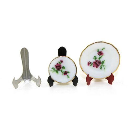 Set of 3 Mini Iron Dish Plate Holder for 1:12 Dollhouse Miniature ACCS Black