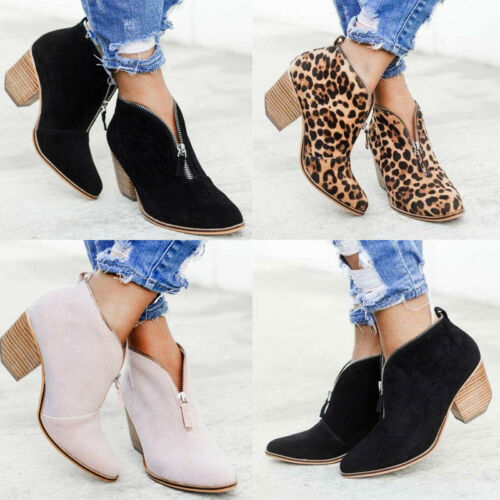 Womens Vintage Block Middle Heel V-Cut Zip Ankle Boots Leopard Print Shoes Sizes