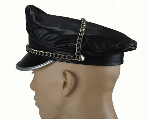 AW-0056 Glattesleder Schirmmütze,Biker Mütze Hut,Offizier Mütze,Leather Muir cap