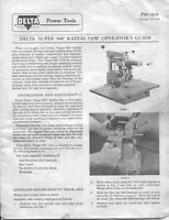 Delta Rockwell 'super 900' Radial Saw Instructions