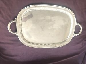 Large-Reed-amp-Barton-Silver-Plate-Butlers-Tray-Floral-Border-Handles-20x15