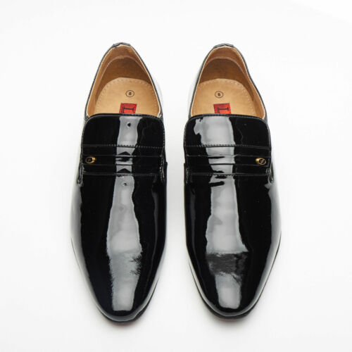 Cuban Black Shoes Smart Lucini on Formal 29779 Slip Mens Patent Leather Heel Z8w5gn5Cq