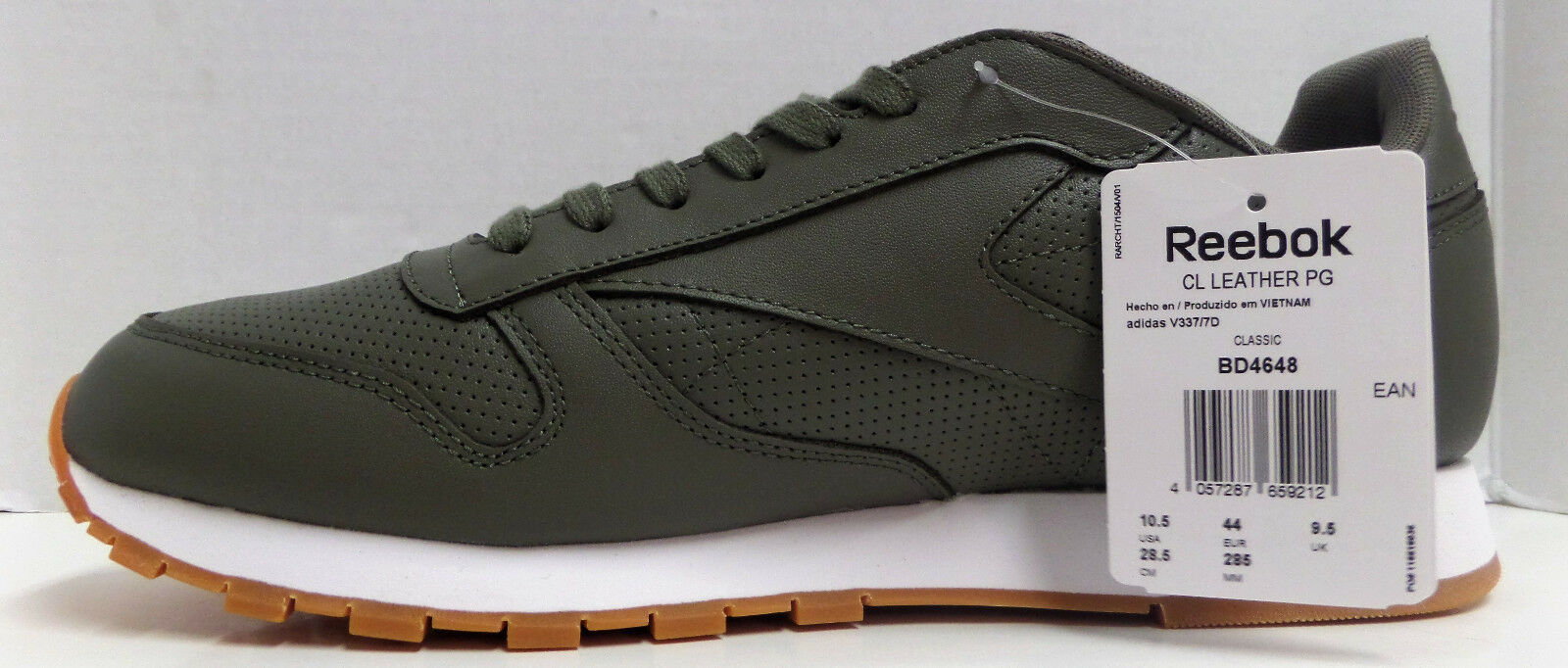 4b542f7da10 Reebok Classic Leather PG Olive Green White Trainer Shoe US 10.5 ...