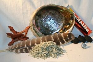 Abalone-Shell-Bulk-BLUE-SAGE-Charcoal-Tablets-4-inch-Wood-Stand-Smudging-Feather
