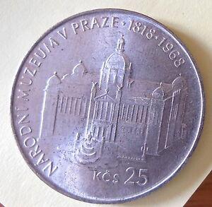 Tschechoslowakei-25-Kronen-Korun-1968-SUP-silver-SUP