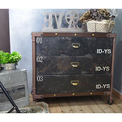 Commode Etagere Tiroirs Loft Industriel Retro Vintage Noir Marron Metal Ancien