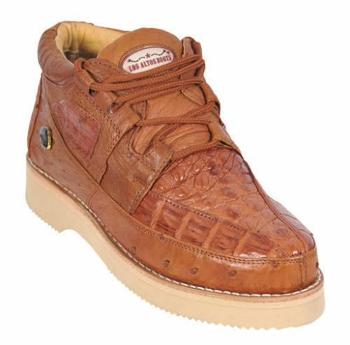 Los Altos Genuine COGNAC Caiman Crocodile Ostrich Casual Shoes Lace Up EE