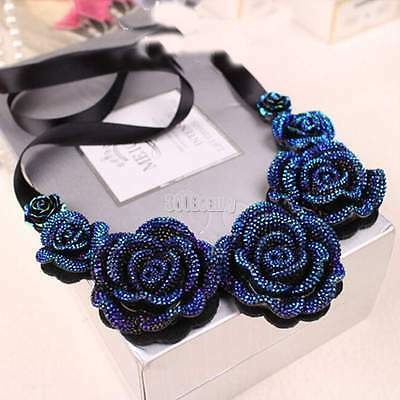 Fashion Retro Rose Flower Pendant Rhinestone Lace Short Clavicle Necklace B5UT